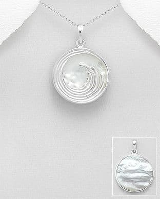 925 Sterling Silver Wave Pendant & Chain, Decorated With Mother of Pearl Stone Shell